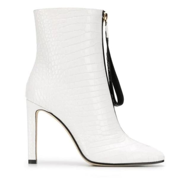 achat bottes blanche cuir femme