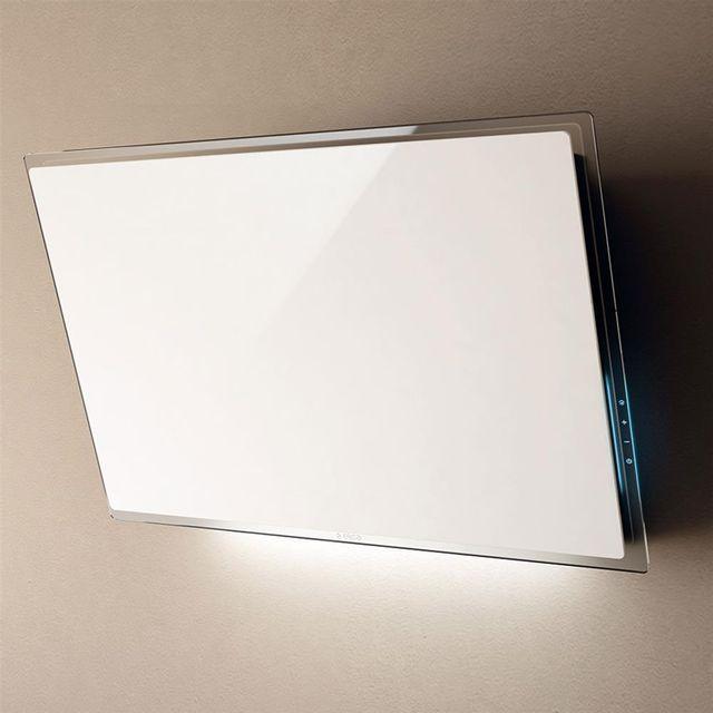 Elica Hotte cuisine murale Elle verre blanc 80 cm