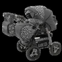 LUX4KIDS - Magnum 2en1 Poussette Combinée Poussette canne Couffin et Accessoires 34 graphite & léopard de neige