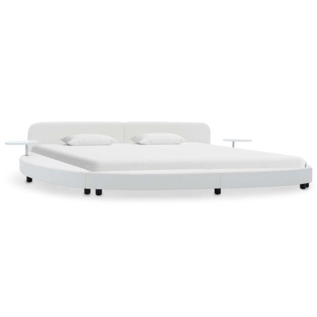 Contemporain Lits et accessoires reference Alofi Cadre de lit Blanc Similicuir 180 x 200 cm