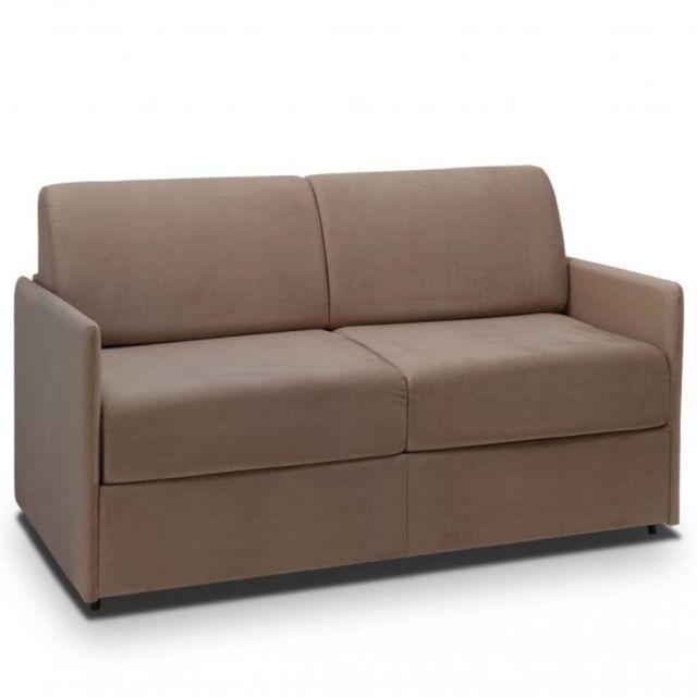 Canapé lit rapido COLOSSE matelas épaisseur 22 cm à mémoire de forme velours taupe