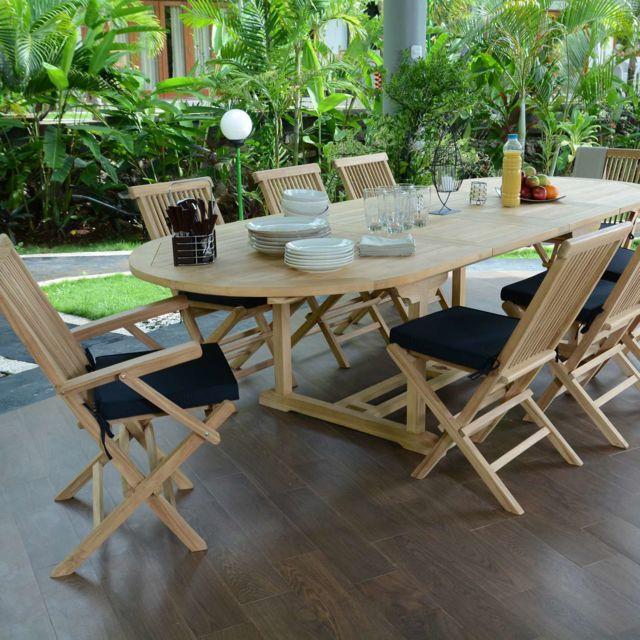 Teck\'ATTITUDE - Salon de jardin en teck qualité Ecograde Biarritz, 8 ...