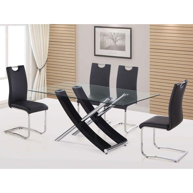 HABITAT ET JARDIN Table repas Diva - 160 x 90 x 76 cm - Noir laqué