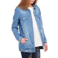 Lamodeuse - Veste en jean bleue destroy oversize