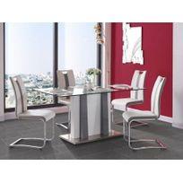 Marque Generique - Table à manger Ciara - Mdf laqué & verre trempé - 6 couverts - Blanc & gris