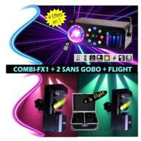 """Afx - 3 jeux de lumière 1 combi-fx1 """"4 effets en 1"""" + 2 led-uvbar6 pa dj sono led mix soirée dansante animation mariage anniversaire"""