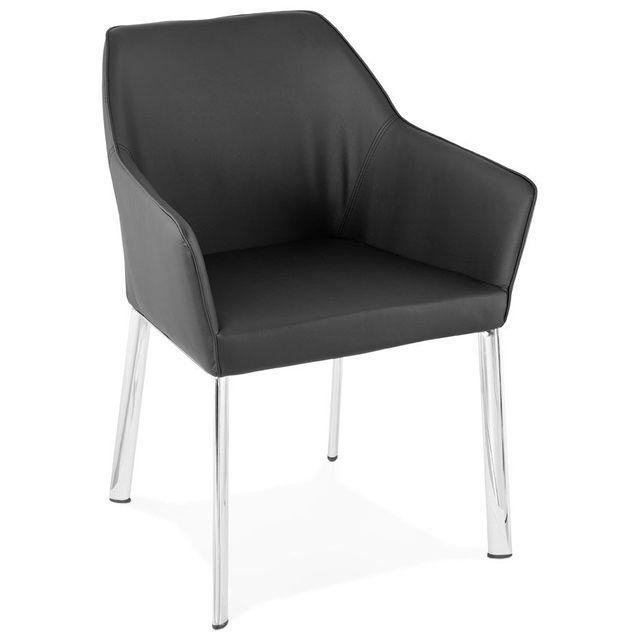 alterego chaise avec accoudoirs moderne 39 manatan 39 noire pas cher achat vente chaises. Black Bedroom Furniture Sets. Home Design Ideas