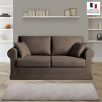 Home Spirit - Canapé 2 places fixes - 100% coton - coloris chocolat Adele