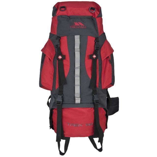 Trespass Trek 66 - Sac à dos de randonnée 66 litres, Taille unique, Rouge Uttp362