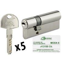 Bricorama - Cylindre de porte Haute sécurité debrayable 30 x 50 mm 5 clés et carte de propriété Barillet double entrée