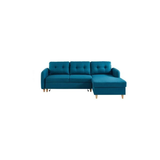 Sans Marque Elis Canape Dangle Droit Convertible 3/4 Places + Coffre De Rangement - Tissu Effet Lin Bleu Canard - Scandinave - L 226
