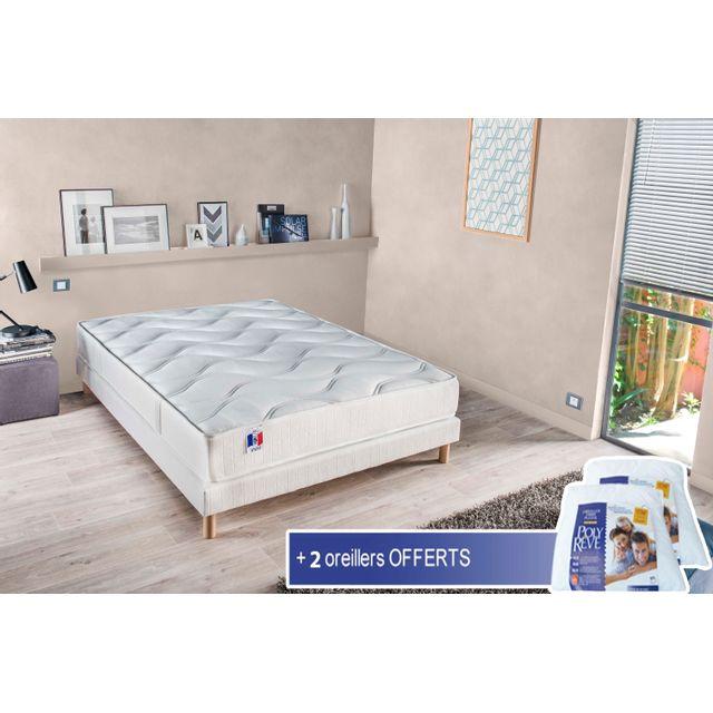 Lovea - Sommier et matelas à mémoire de forme 140x190 + 2 oreillers Blanc