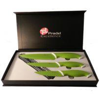 Pradel - Coffret 3 couteaux lames anti adhérantes Vert Anis