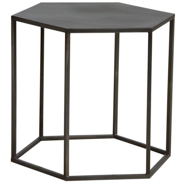 AUBRY GASPARD Table d'appoint hexagonale en métal