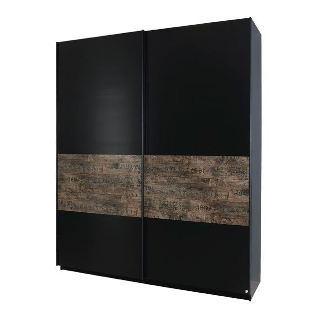 Marque Generique Armoire 225cm à portes coulissantes - noir et marron