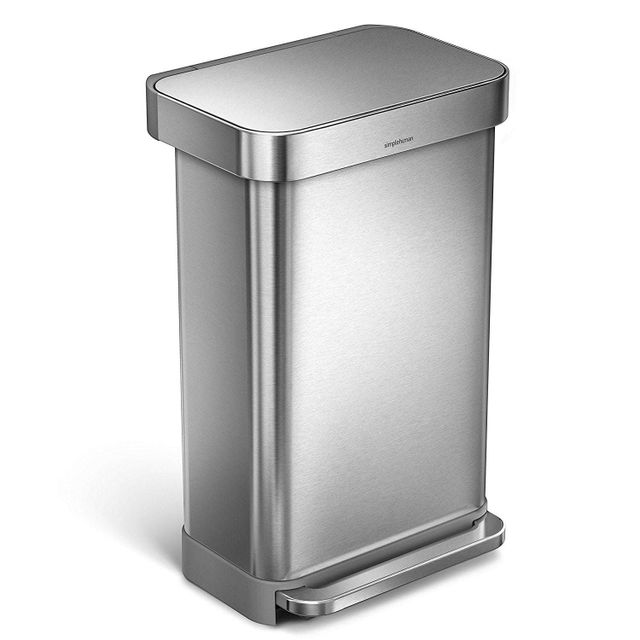 Simplehuman Poubelle rectangular step can acier inoxydable 45 litres
