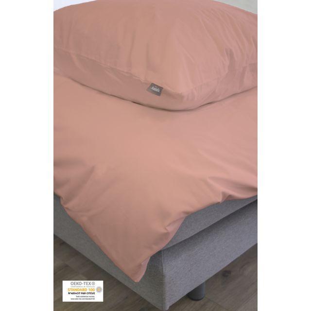 Kadolis set housse de couette et taie 140x200 rose poudr coton bio 140cm x 200cm pas cher - Housse de couette rose poudre ...