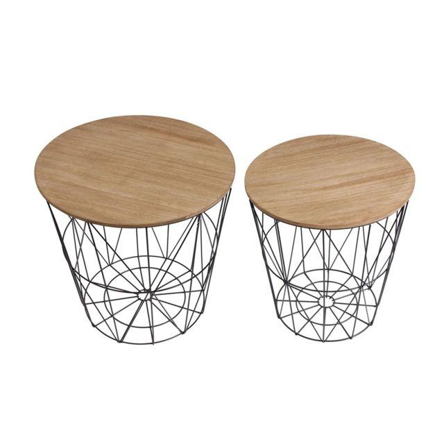 Les Douces Nuits de Maé Lot de 2 tables filaires bois et métal noir