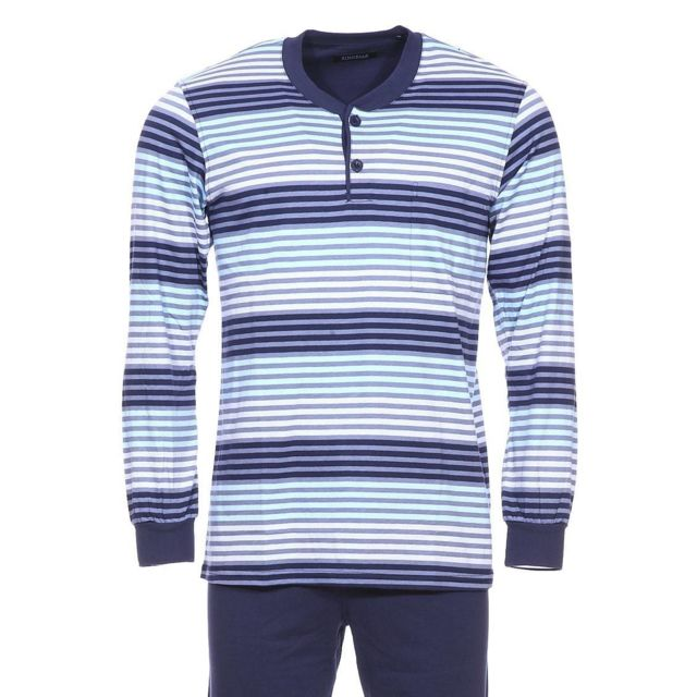 9f69819543a5 Ringella - Pyjama Ringella en coton   tee-shirt manches longues col tunisien  à rayures