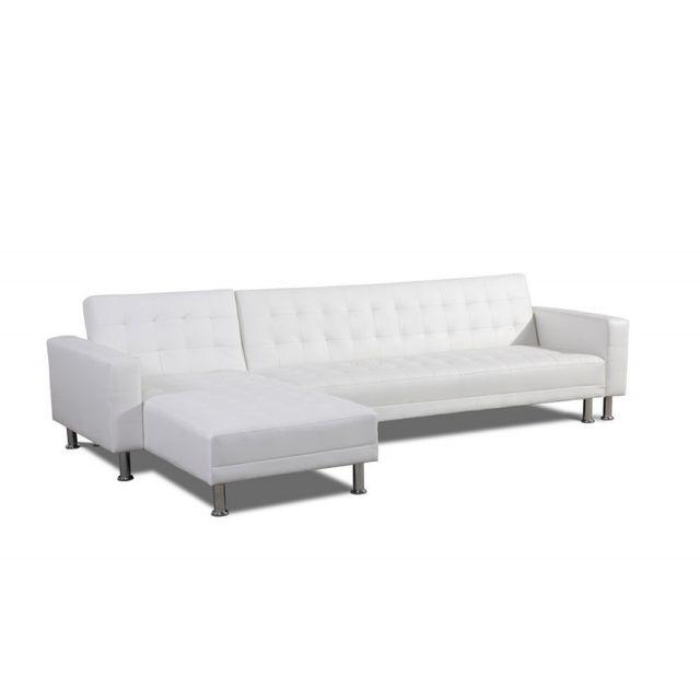 Ma Maison Mes Tendances Canapé d'angle réversible convertible 5 places Blanc Belna - L 299 x l 95 x H 77