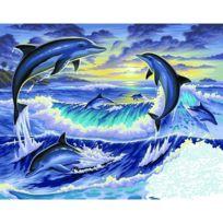Kitfix Swallow Group Ltd - Peinture au numéro Initiés : Dauphins au clair de lune
