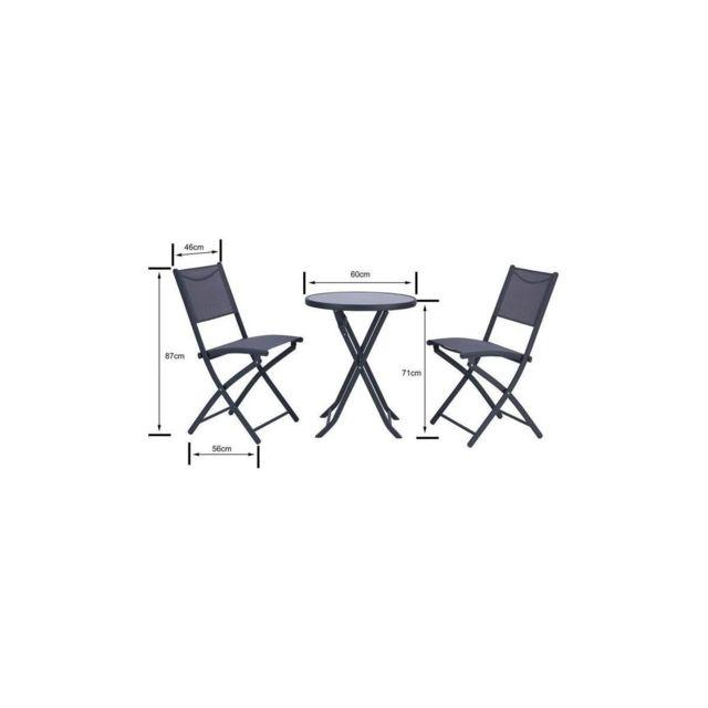 Ensemble salon de jardin 2 places - Table ronde pliable plateau verre  trempe chaises pliantes acier - Gris anthracit