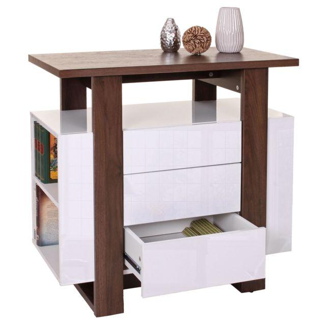 Mendler Commode Hwc-b51, armoire à tiroirs, structure 3D, couleur noix, brillant 81x80x45cm