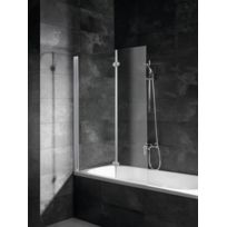 Pare-baignoire Komfort, paroi de baignoire avec 2 volets pivotants, 103,5 x 130 cm, verre transparent, profilé alu argenté