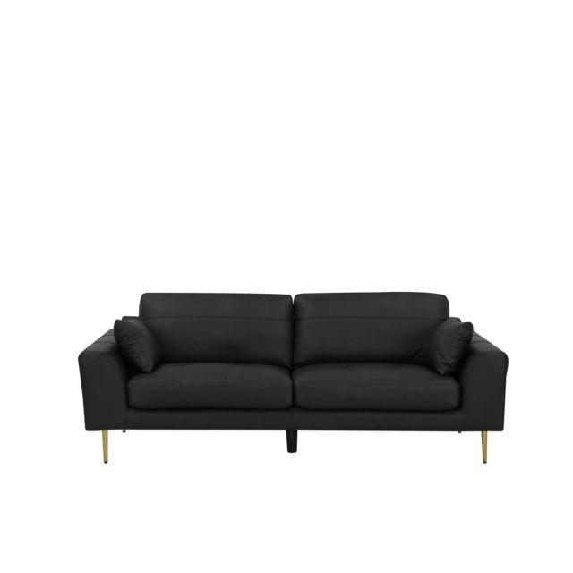BELIANI Canapé 3 places en cuir noir TORGET - noir