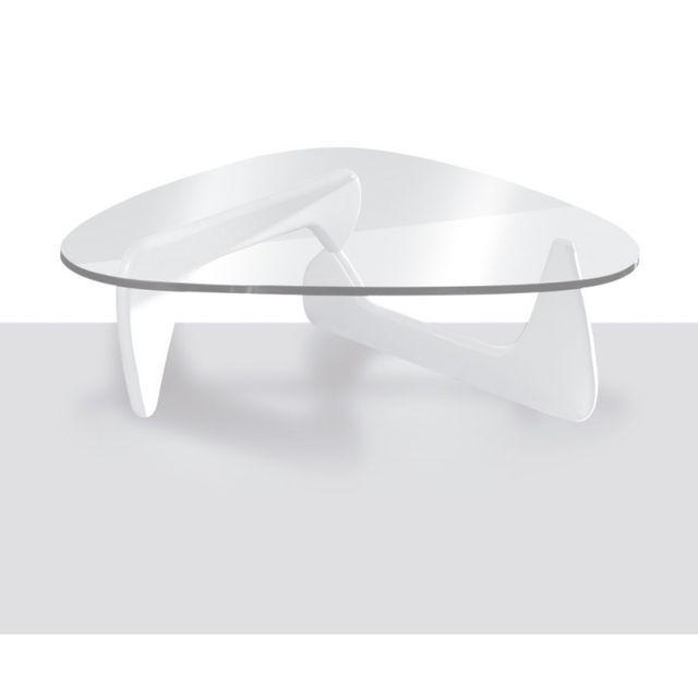 Table Basse Triangulaire En Verre Et Bois Laque Blanc Brillant Nola L 125 X L 90 X H 40