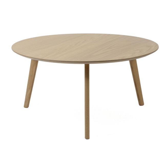 COMFORIUM Table basse ronde design scandinave en bois massif chêne naturel Ø80cm