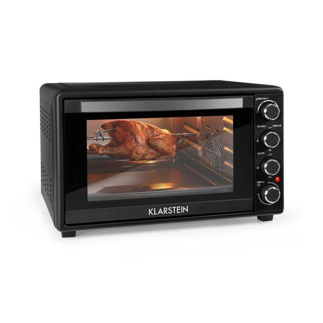 KLARSTEIN Masterchef 45 - Mini four, Tournebroche rotatif, Puissance de 2000 W, Capacité de 45 litres, Minuterie, 100-230 °C, Noir
