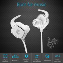 Alpexe - Casque Bluetooth 4.1 magnétique, Oreillette sans fil pour le sport & jogging, aptX, Cvc 6.0 réduction du bruit, casque Bluetooth compatible avec Iphone,Ipad,Ipod,Samsung,Sony,Galaxy et la plupart des smartphones Q20 Blanc