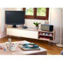 Symbiosis - Meuble Tv bas en bois avec 1 abattant, 2 niches et pieds métal L165 cm Aero