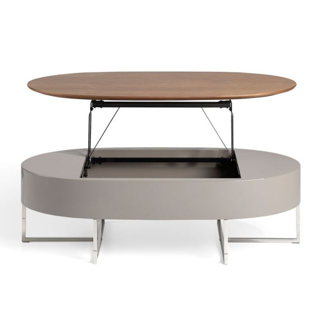 Tousmesmeubles Table basse relevable Noyer/Métal - Fordo