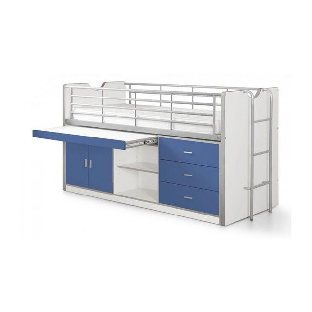 Vipack Lit Combin Bureau Bonny Bleu