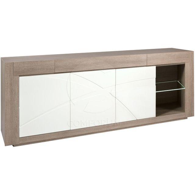 Comforium Bahut 250 cm contemporain avec 3 portes coloris chêne gris et blanc laqué