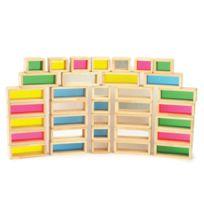 - Carton de 36 briques en bois colorées