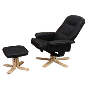 Mendler Fauteuil relax de relaxation M56 avec pouf simili cuir