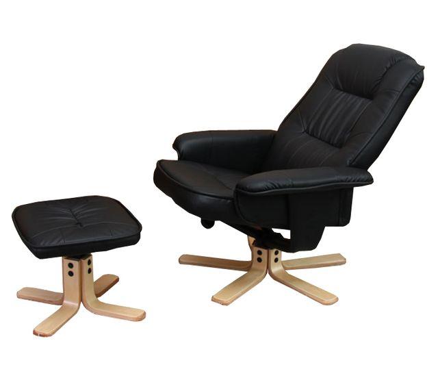 mendler fauteuil relax de relaxation m56 avec pouf simili cuir noir n a n a pas cher. Black Bedroom Furniture Sets. Home Design Ideas
