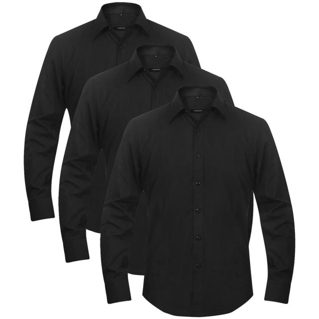 VIDAXL 3 Chemises de travail pour Homme Taille L Noir