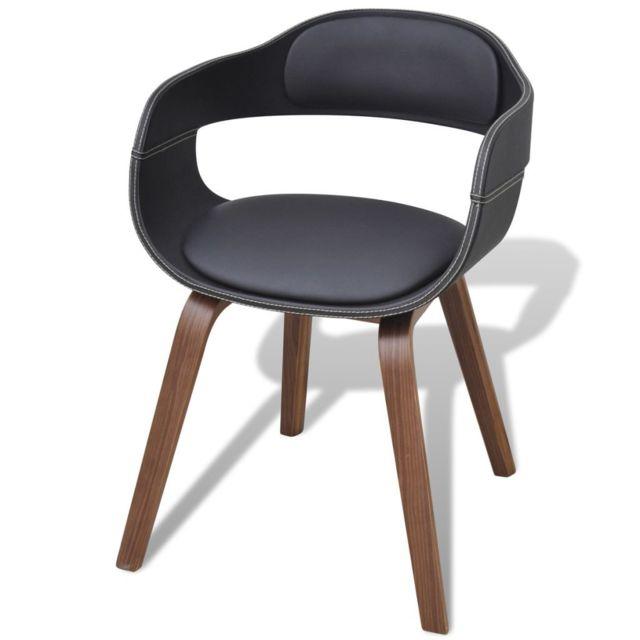 Chaise de salle à manger avec pieds en bois Cuir synthétique | Noir
