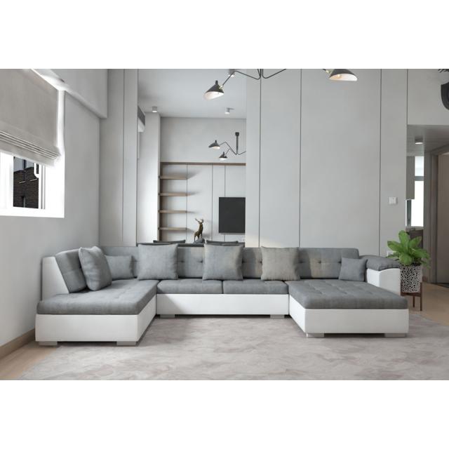 MEUBLESLINE Canapé d'angle XXL panoramique Atrium gauche gris blanc