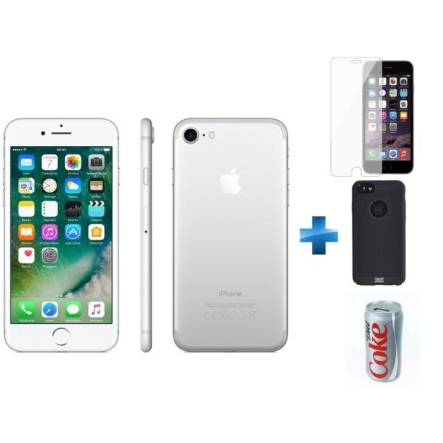 APPLE - iPhone 7 - 128 Go - Argent - Reconditionné + Verre trempe iPhone 6/6s/7/8 - Transparent + iPhone 6/6s Perf metal case - Noir + Batterie de secours Coca-Cola Light 7200 mAh