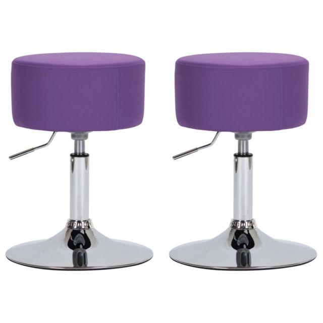 sublime Fauteuils et chaises selection Tokyo Tabourets de bar 2 pcs Violet Similicuir