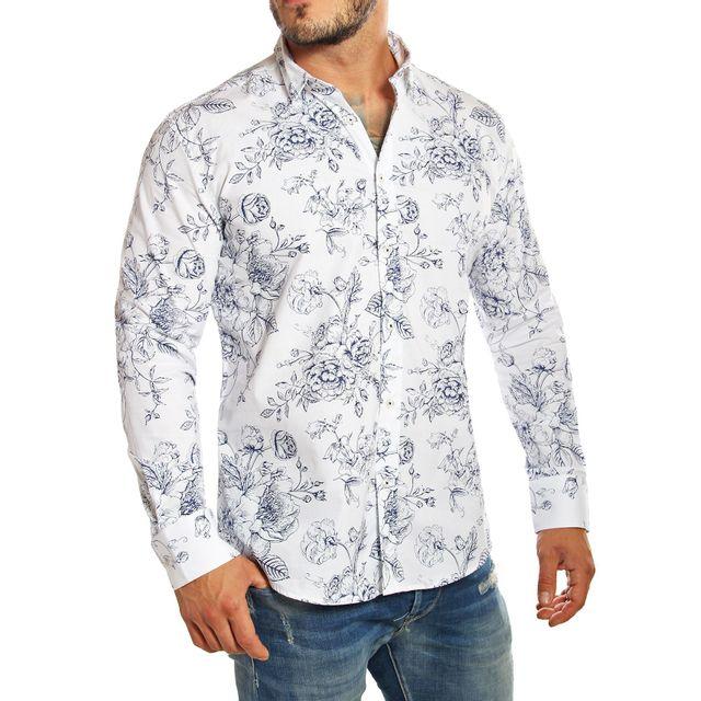 Carisma - Chemise à fleurs homme blanche manches longues - pas cher Achat    Vente Chemise homme - RueDuCommerce 094d532b08e0