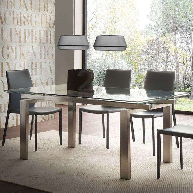Nouvomeuble Table extensible en verre et acier brossé design Lilia