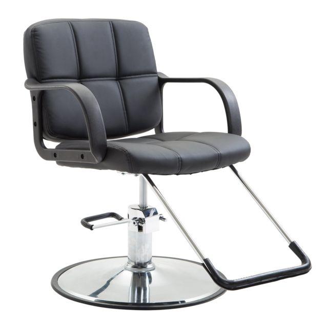 HOMCOM Chaise fauteuil de coiffeur pivotant hauteur réglable repose-pied base acier inox charge max. 110 Kg similicuir capitonn