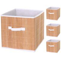 Bon Mendler   4x Boîte De Rangement Pliable Hwc C21, Bambou ~ Nature
