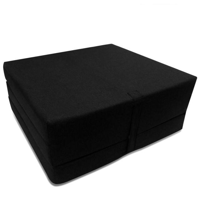 Icaverne - Matelas selection Matelas en mousse pliable en 3 sections 190 x 70 x 9 cm Noir